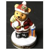 Limoges Christmas Teddy Bear Santa Trinket Box #1