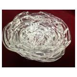 Vtg Molly Stone Spun Art Glass Clear Bowl