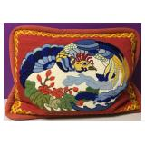 Custom Needlepoint Rooster Down Pillow