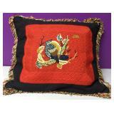 Vintage Custom Needlepoint BIrd Nest Down Pillow