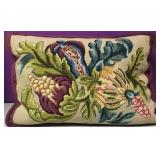 Custom Needlepoint Fruit Garden Down Pillow