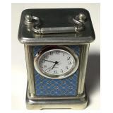 Roger Lascelles Pewter Enameled Travel Clock