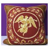 Custom Needlepoint Trumpeting Angel Down Pillow