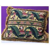 Custom Needlepoint Floral Motif Down Pillow