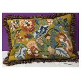 Custom Needlepoint Art Nouveau Floral Down Pillow