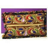 Custom Needlepoint Art Nouveau Motif Down Pillow