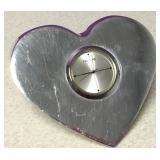 Vtg Small Nambe Studio Heart Shape Desk Clock