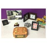 Collectibles Lot Hand Painted Tiger, Monicello Etc