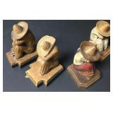 Lot Of 4 Mexican Folk Art Sombrero Figure Bookends