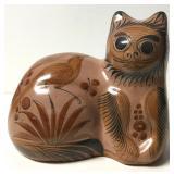 "8"" Vintage Tonala Mexico Pottery Cat Figure Signed"