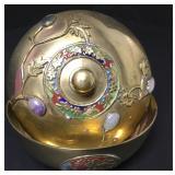 """Vtg Chinese Enameled Brass & Stone Lidded Bowl 4"""""""