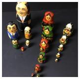 "Lot Of 3 Russian Nesting Dolls Tallest 7"""