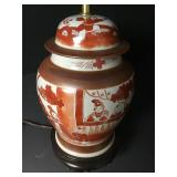 Antique Chinese Iron Red Painted Ginger Lamp