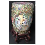 Vtg Chinese Hand Painted Porcelain Garden Stool