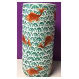 Vtg Chinese Porcelain Gold Fish Umbrella Stand