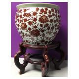 Vintage Chinese Porcelain Koi Fish Bowl & Stand