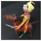 Paper Mache Folk Art Man On Horse Signed
