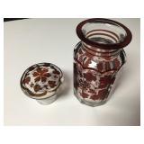 "Ruby Bohemian Cut To Clear Glass Lidded Jar 6"""