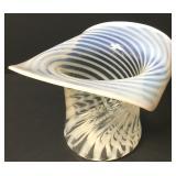 Large Fenton Opalescent Spiral Glass Top Hat Vase