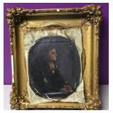 Antique Gold Gilt Carved Frame & Painting