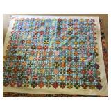 """80""""x91"""" Vintage Cotton Star Quilt"""