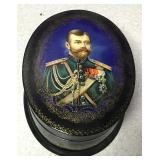 """Vintage Hand Painted Russian Oval Trinket Box 6"""""""