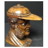 Hand Carved Burlwood Giessbach Figural Inkwell