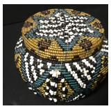 "Vintage Native Intricate Beadwork Lidded Jar 3""x3"""