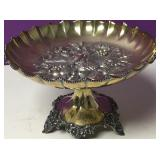 Antique Silver Plate Footed Fruit Bowl