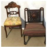 Antique Baroque Carved Wood Chair/Side Chair