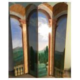 Custom Hand Painted 4 Panel Wood Divider Screen