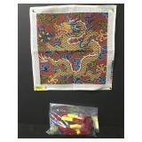 Vintage Chinese Dragon Needlepoint Kit & Silk