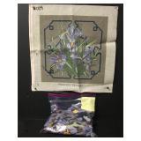 Vintage Purple Iris Needlepoint Embroidery Kit