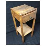 Antique Solid Wood Side Table W/Drawer