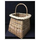 Extra Large Bamboo Handle Woven Gondola Basket