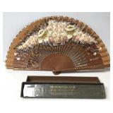 Hand Painted Batik Wayang Silk & Wood Hand Fan
