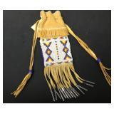 "Native Handmade Beadwork Leather Pouch 11"""
