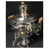 Vintage Ornate Silver Tone Russian Samovar