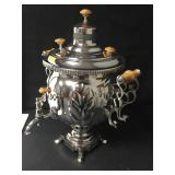 Vintage Silver Plated Russian Samovar Incomplete