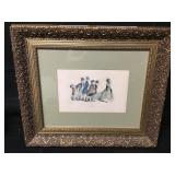Antique Framed Tinted Business Dogs Lithograph
