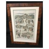 Antique Framed 1876 Illustrated Original News Page