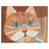 Santa Fe Artist Judy Ryhmes Vintage Cat Painting