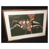 Santa Fe Artist Judy Ryhmes Vintage Crow Painting