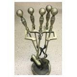 Vintage Brass & Cast Iron Fireplace Set