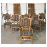 Vtg Double Leaf Wood Dining Table w/ 6 Chairs
