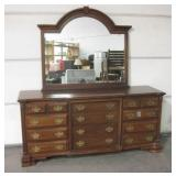 "12 Drawer Wood Dresser w/ Mirror 73"" x 22"" x 34"""