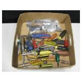 Box Of Screwdrivers & Other Hand Tools