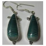 "2"" Green Lace Onyx 925 SS Plated Earrings"