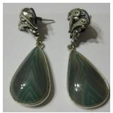 "2"" Green Laced Onyx 925 SS Plated Earrings"