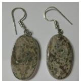 "2"" Leopard Skin Jasper 925 SS Plated Earrings"